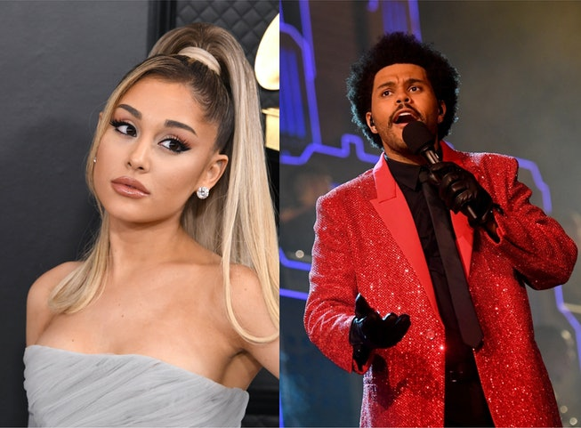 L: A portrait of Ariana Grande at the Grammys. R: A photo of The Weeknd performing at the Super Bowl.