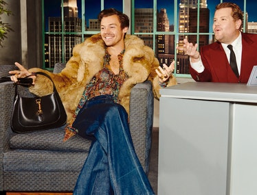 harry styles wearing Gucci fur james corden