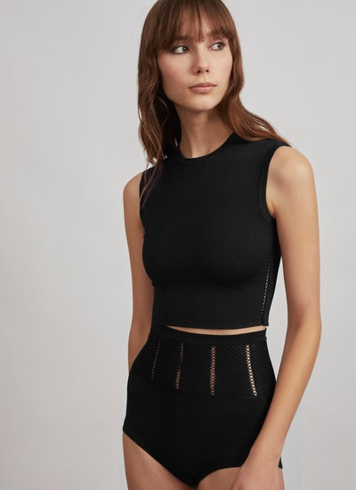 Alaïa Relax Technical Knit Cropped Top
