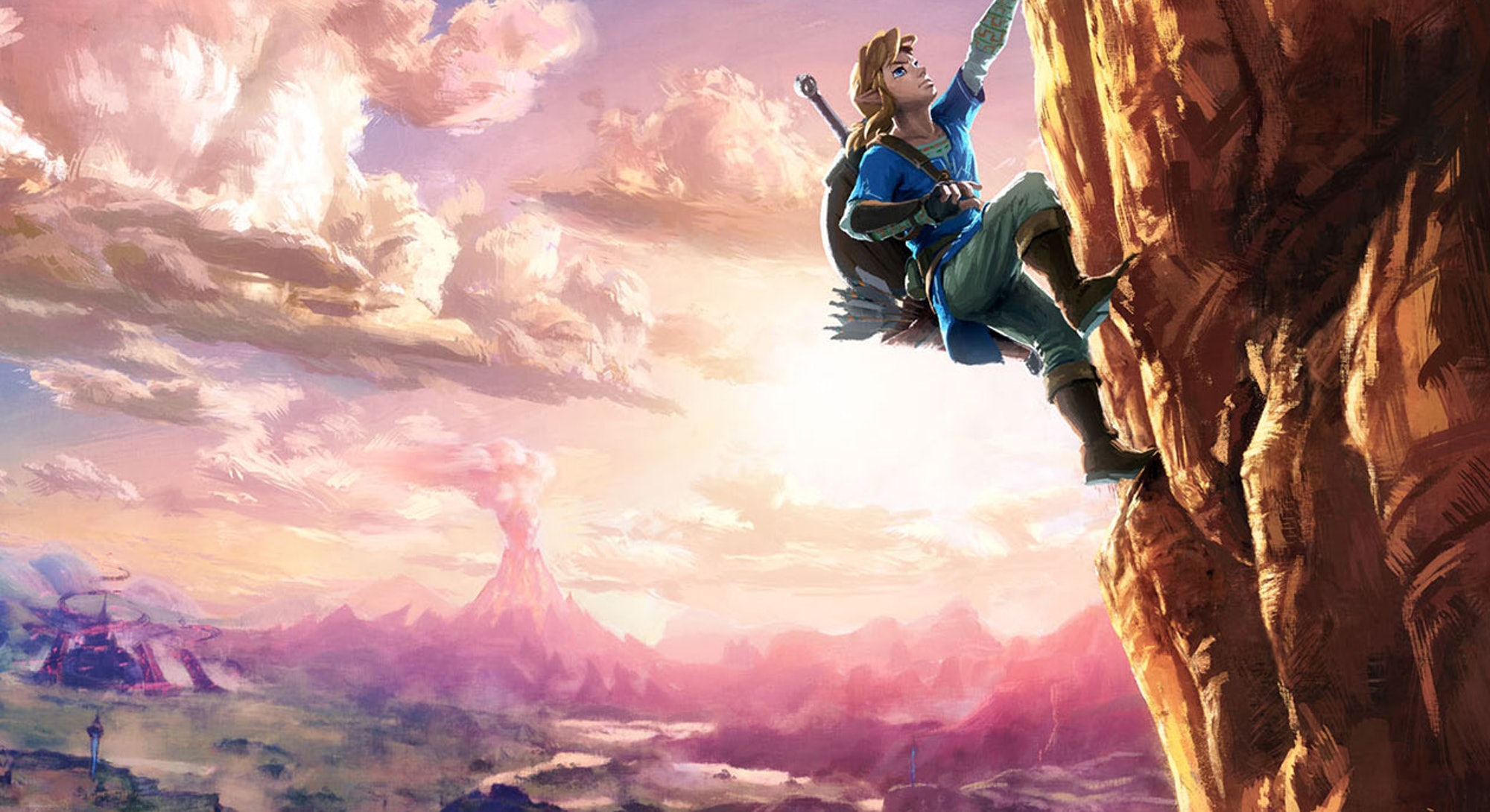 legend of zelda breath of the wild art link climbing mountain