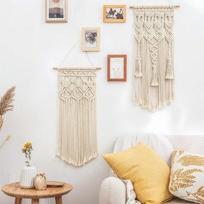 Mkono Macrame Woven Wall Hanging Decor (2-Pcs)