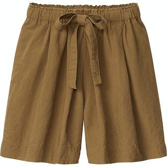 Linen-Blend Tucked Shorts