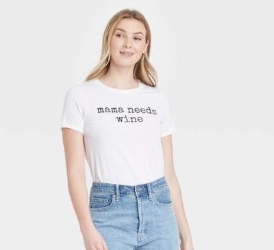 Grayson Threads Mama Needs Wine Short Sleeve Graphic T-Shirt