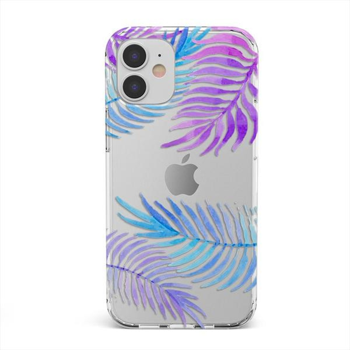 Tropical Blue Palm Leaves iPhone Clear Case