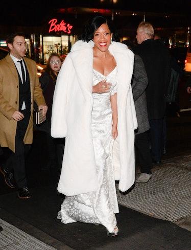 Regina King wearing all white