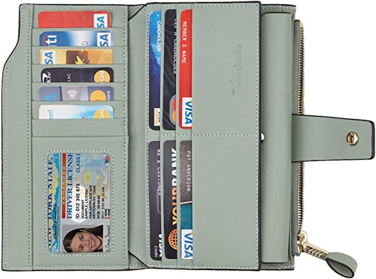 Travelambo Womens RFID Blocking Leather Clutch Wallet
