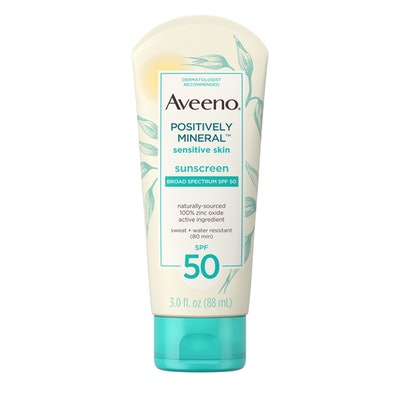Aveeno Positively Mineral  Sensitive Skin Sunscreen Broad Spectrum SPF 50