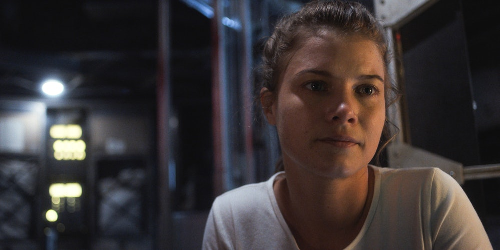 Sarah Jones as astronaut Tracy Stevens