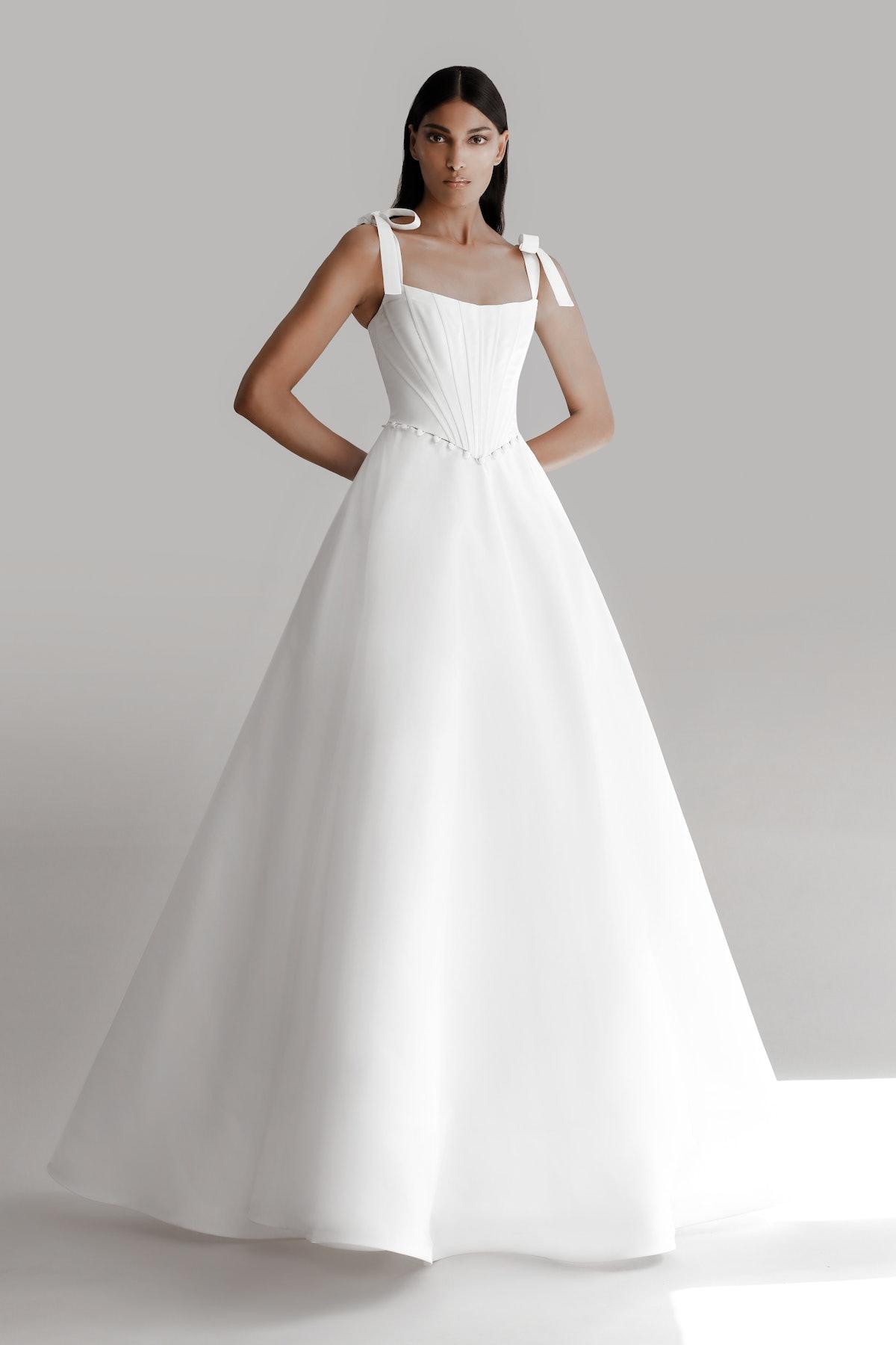 Model wears 2022 Prabal Gurung Bridal Collection