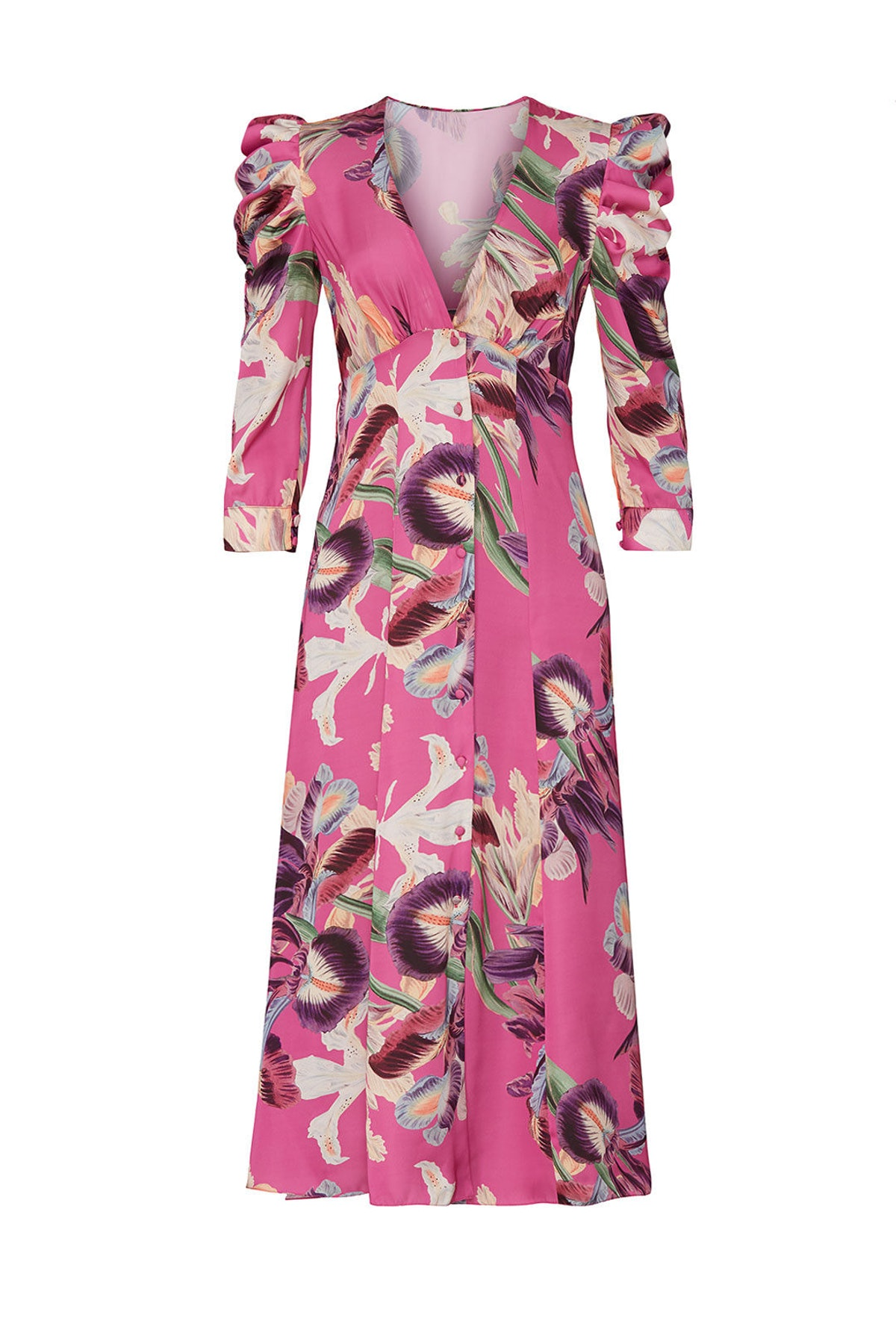 Pink Floral Puff Sleeve Dress