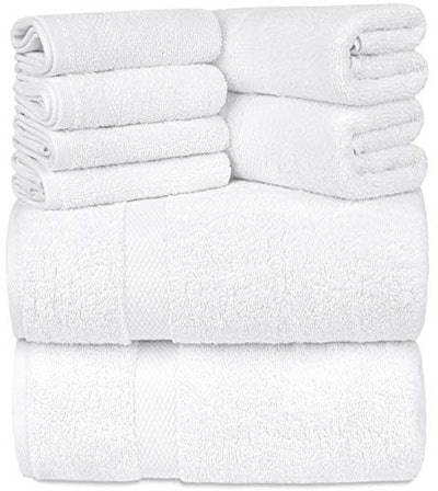 WhiteClassic Luxury White Bath Towel Set (Set of 8)