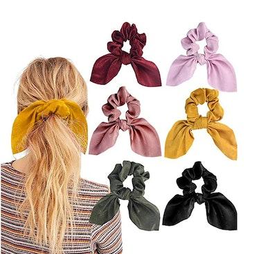 Aileam Satin SilkRabbit Bunny Ear Bow Scrunchies (6-pack)
