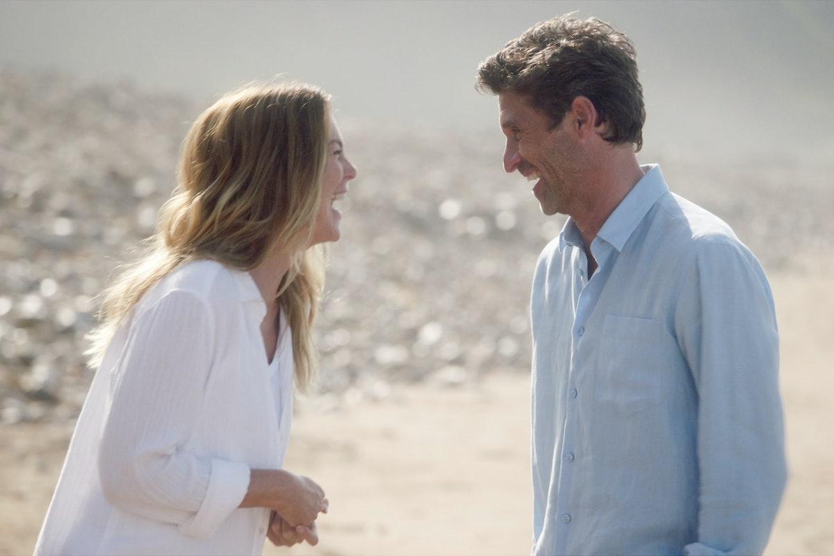 Ellen Pompeo as Meredith Grey and Patrick Dempsey as Derek Shepherd in Grey's Anatomy Season 17.
