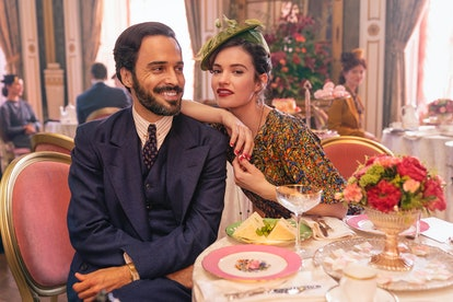 Assaad Bouab and Lily James in 'The Pursuit of Love'