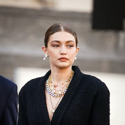"""Gigi Hadid is seen, outside """"Karl for Ever"""" Tribute to Karl Lagerfeld at Grand Palais, during Paris Fashion Week - Menswear Spring/Summer 2020, on June 20, 2019 in Paris, France."""