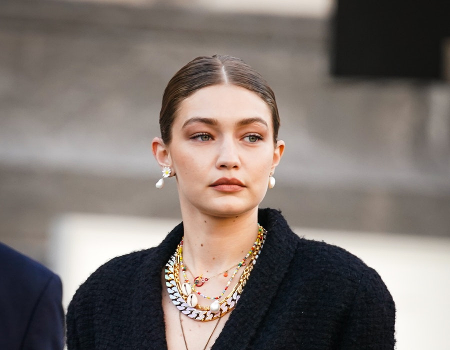 "Gigi Hadid is seen, outside ""Karl for Ever"" Tribute to Karl Lagerfeld at Grand Palais, during Paris Fashion Week - Menswear Spring/Summer 2020, on June 20, 2019 in Paris, France."
