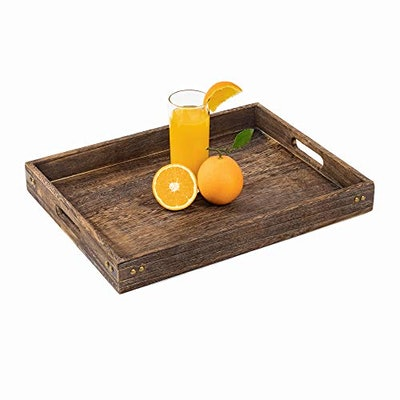 Sufandly Large Wooden Serving Tray