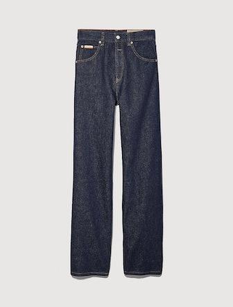 Indigo Rinse Denim Straight Leg High Rise Jeans