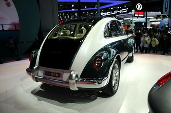 The Ora Punk Cat is an electric car for the Chinese market that looks like a Volkswagen Beetle.