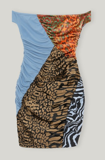 Mesh Poplin Off-Shoulder Dress