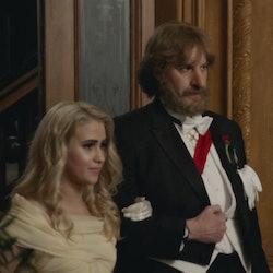 Maria Bakalova and Sacha Baron Cohen in Borat Subsequent Moviefilm.