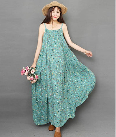 YESNO Loose Floral Print Maxi Dress