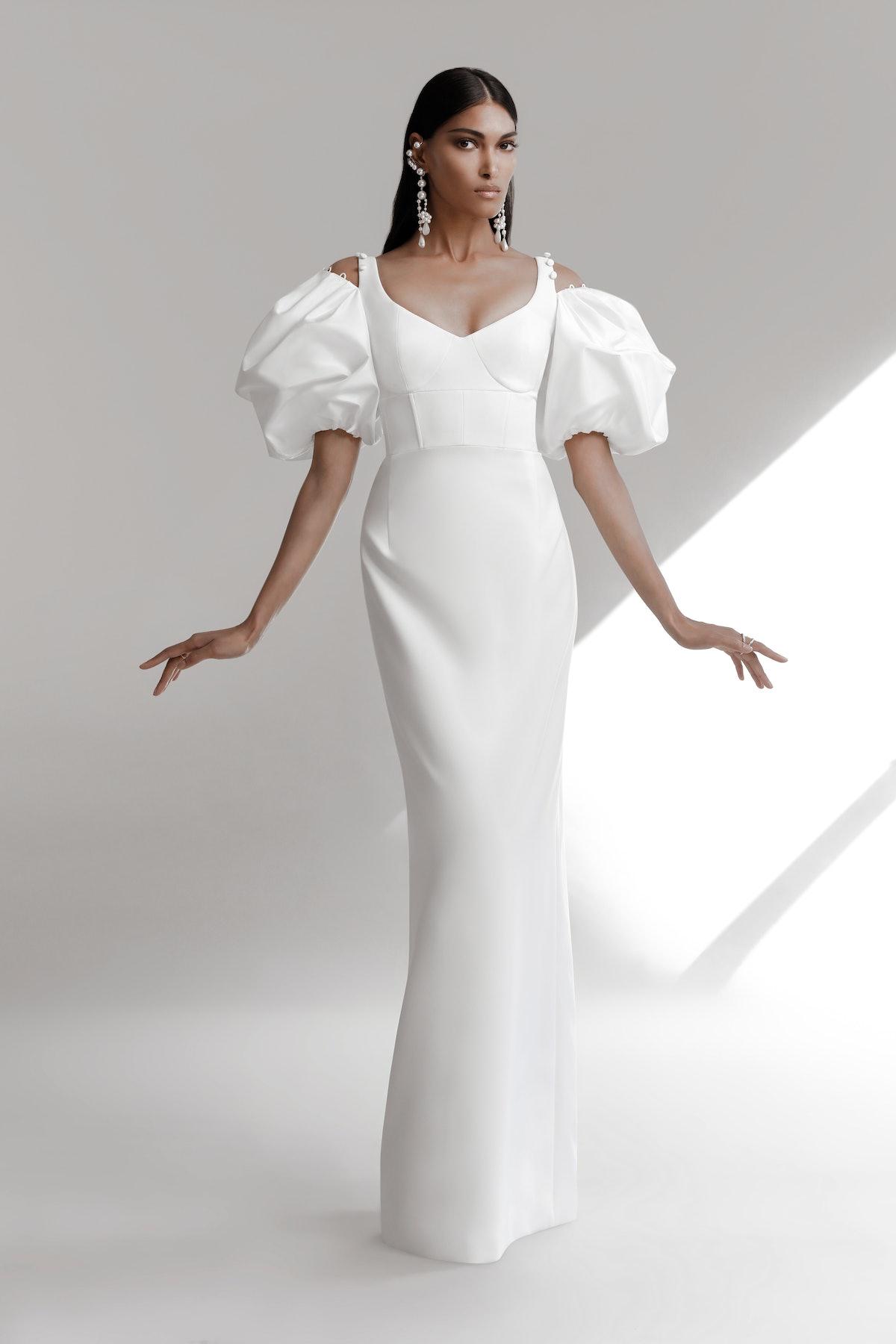 Model wearing Prabal Gurung Spring 2022 bridal collection.