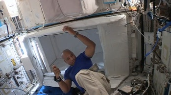 NASA astronaut and Crew-1 member Victor Glover prepares the space station ahead of the Crew-2 capsule arriving.