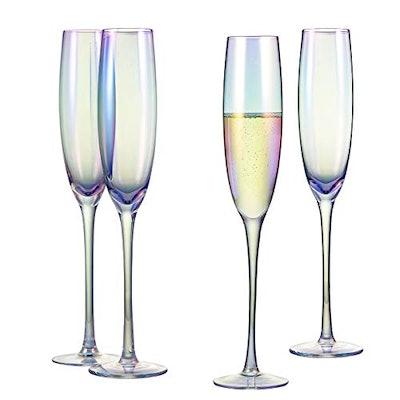 Iridescent Champagne Flute Glasses (Set of 4)