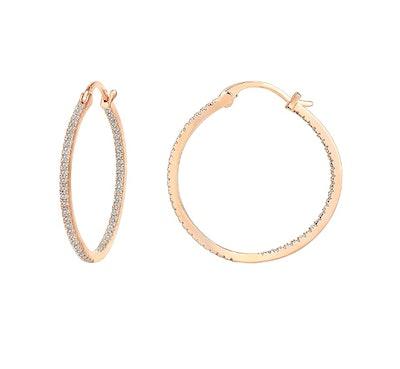 PAVOI Gold Plated Cubic Zirconia Hoop Earrings