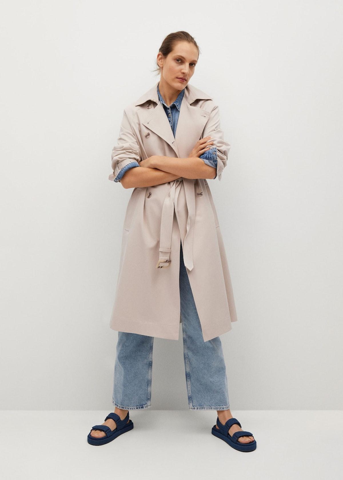 Long Water-Repellent Trench Coat