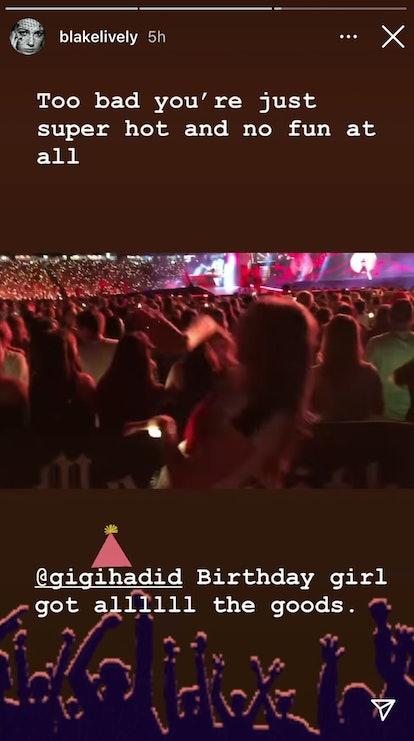 Blake Lively trolled Ryan Reynolds in her birthday message to Gigi Hadid via her Instagram Stories