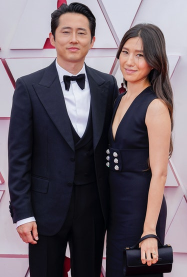 Steven Yeun and Joana Pak attend the 93rd Annual Academy Awards at Union Station on April 25, 2021 i...