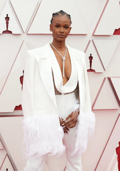 LOS ANGELES, CALIFORNIA – APRIL 25: (EDITORIAL USE ONLY) In this handout photo provided by A.M.P.A.S., Tiara Thomas attends the 93rd Annual Academy Awards at Union Station on April 25, 2021 in Los Angeles, California.