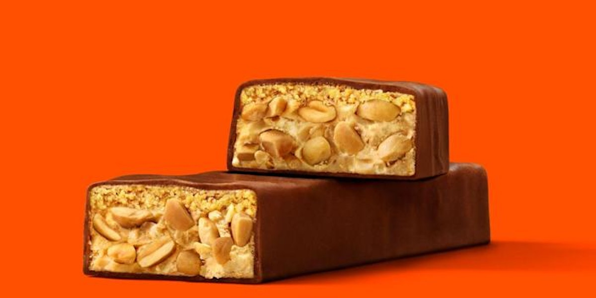 Reese's Peanut Crunchy Bar is loaded with nuts and even more peanut butter.