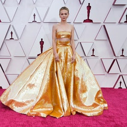 LOS ANGELES, CALIFORNIA – APRIL 25: Carey Mulligan attends the 93rd Annual Academy Awards at Union Station on April 25, 2021 in Los Angeles, California.