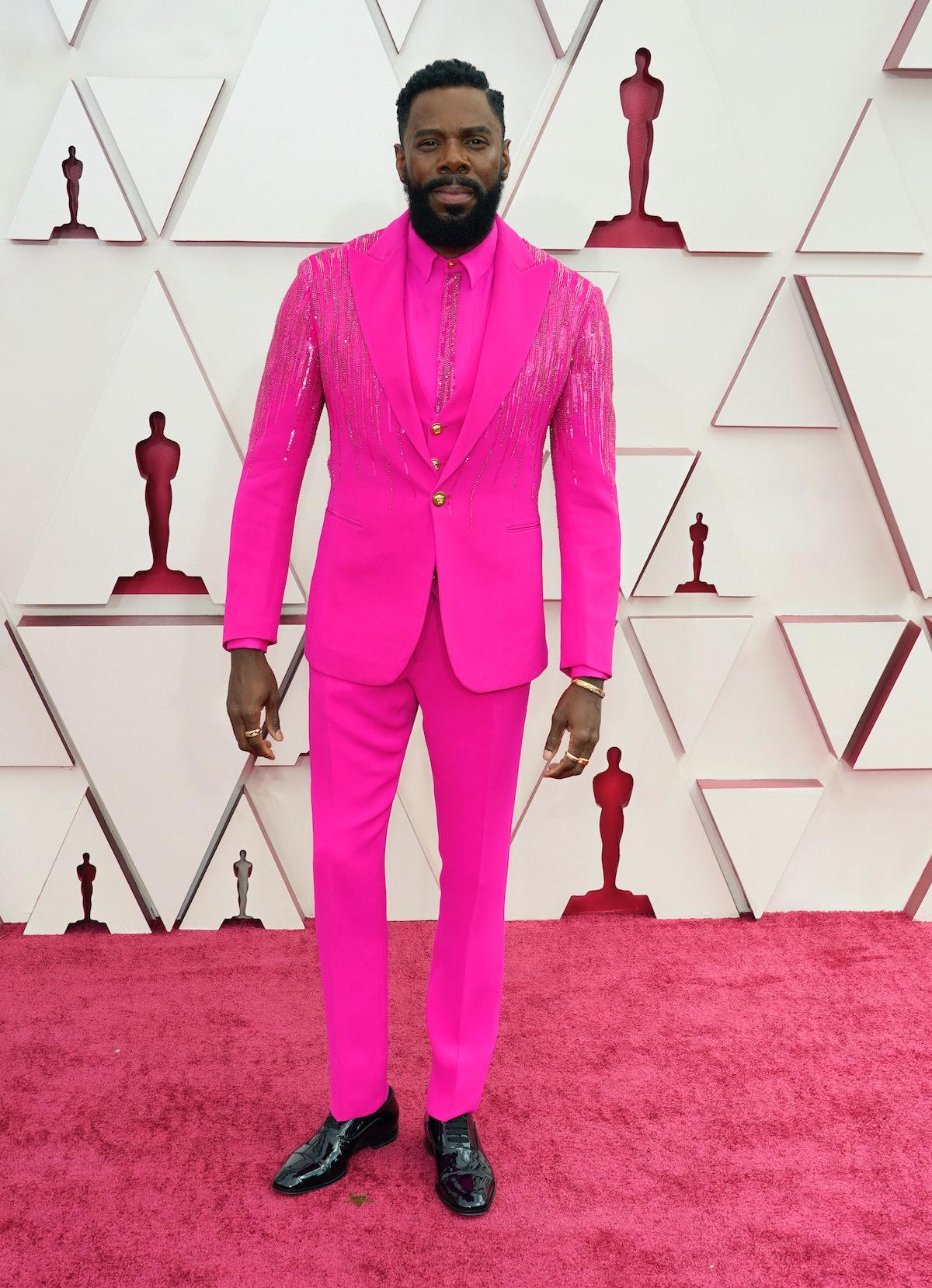 Colman Domingo in a pink Versace suit.