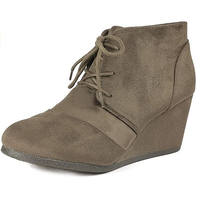 DREAM PAIRS Lace Up Low Wedge Booties