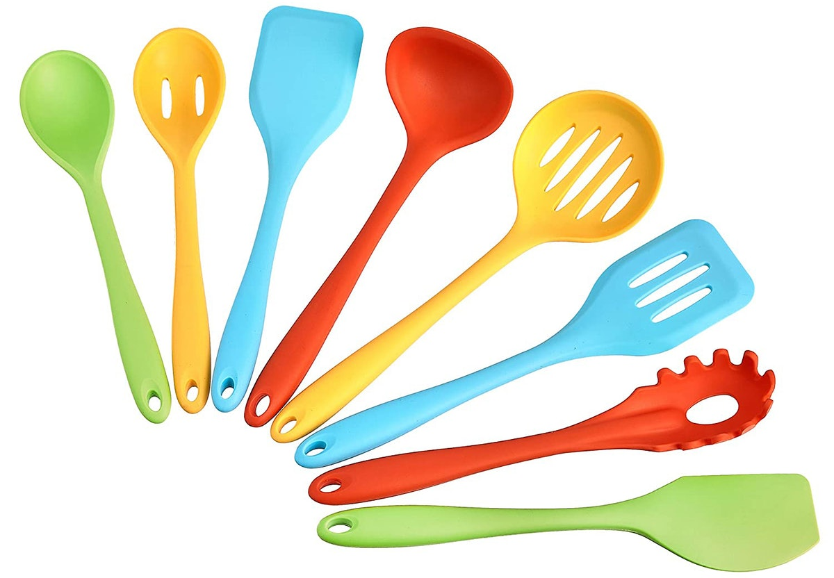 AmazonCommercial Silicone Cooking Utensil Set (8 Pieces)