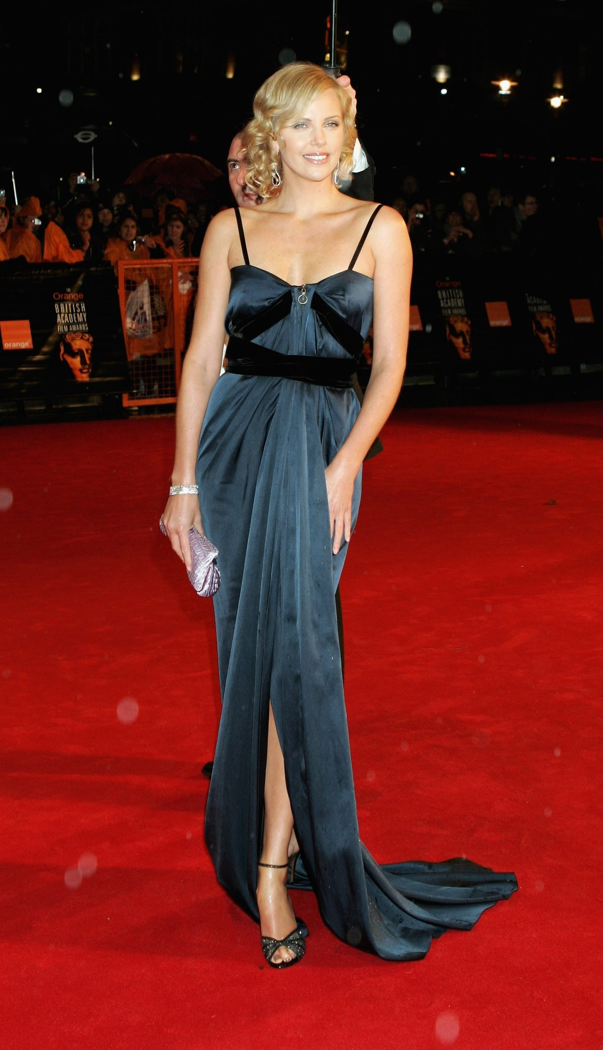 Charlize Theron in a blue Lanvin gown.