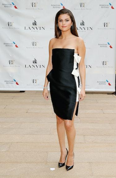 Selena Gomez in black and white mini-dress.