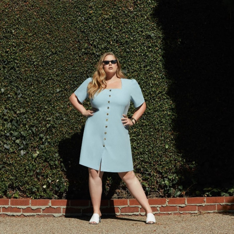 Model wearing blue ALMOST THERE dress.