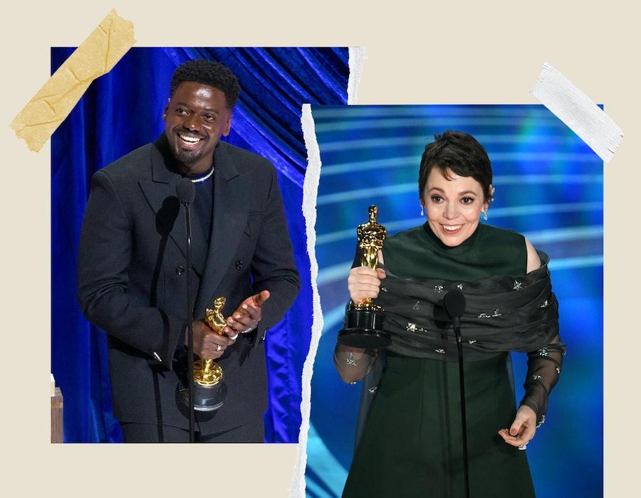 Daniel Kaluuya accepting his award at the 2021 Oscars, Olivia Colman accepting her award at the 2019 Oscars