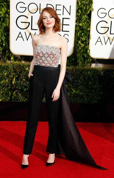 Emma Stone in sparkly top.