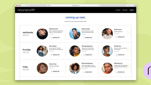 A display of the may influencers who livestream on the livestream shopping app Newness