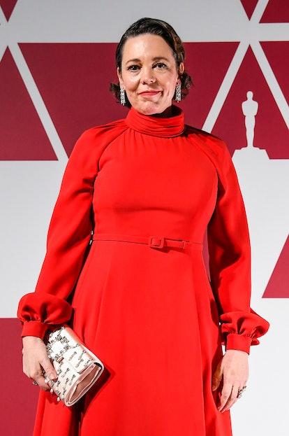 LONDON, UNITED KINGDOM – APRIL 26: Olivia Colman arrives at a screening of the Oscars on April 26, 2...