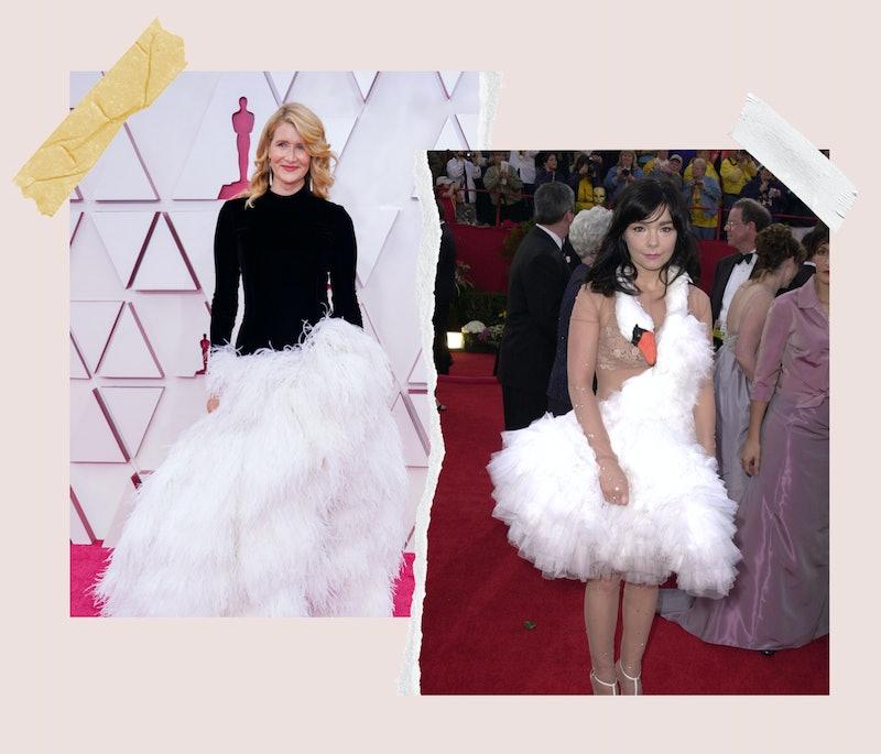 Twitter thinks Laura Dern's Oscars 2021 dress looks like Bjork's infamous swan gown.