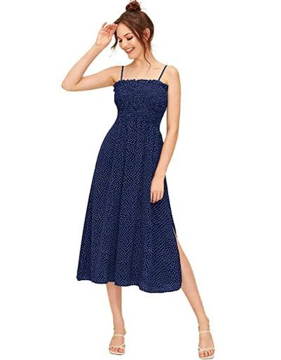 SheIn Shirred Floral Print Ruffle Midi Dress