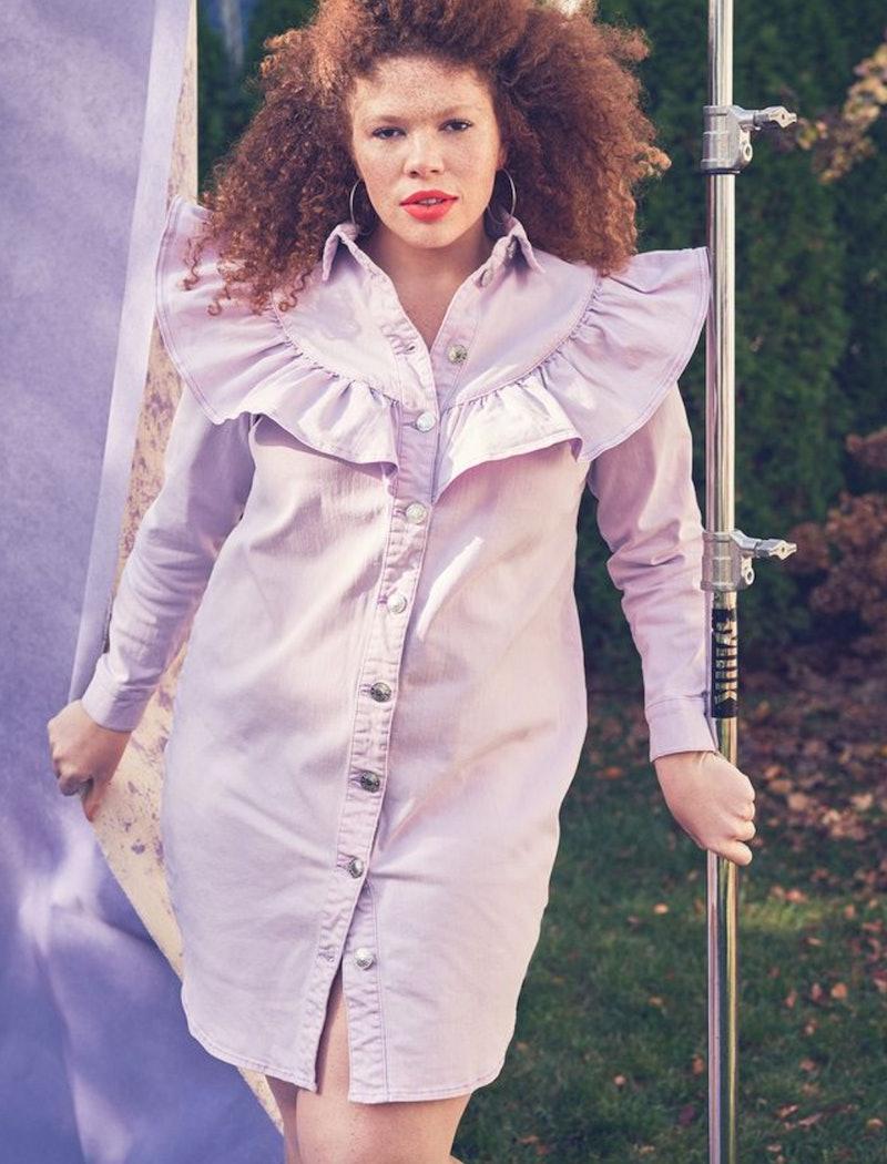 Model wearing purple denim dress from ELOQUII.