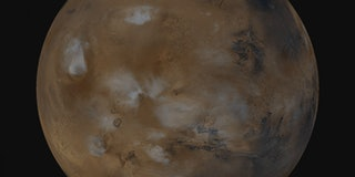 A mosaic of 10 images from the Mars Orbiter projected onto a sphere to show the water ice clouds on Mars.